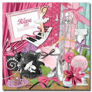 Kit digital de scrapbooking Rêve de ballerine