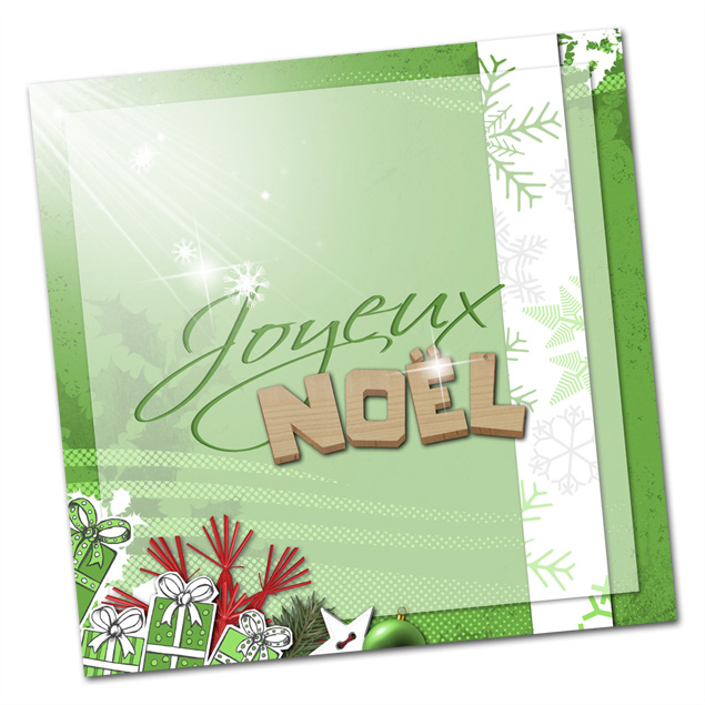 carte scrapbooking - Joyeux Noël