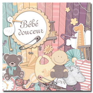 Kit digital de scrapbooking Bébé douceur