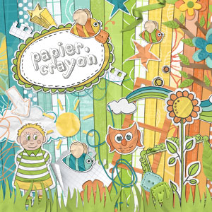 Kit digital de scrapbooking Papier-crayon